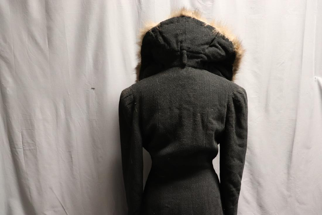 1940's Wool Knit Sweater Coat with Fox Fur - 8