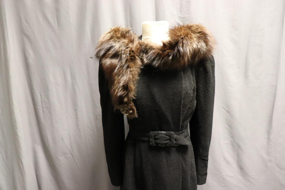 1940's Wool Knit Sweater Coat with Fox Fur - 9