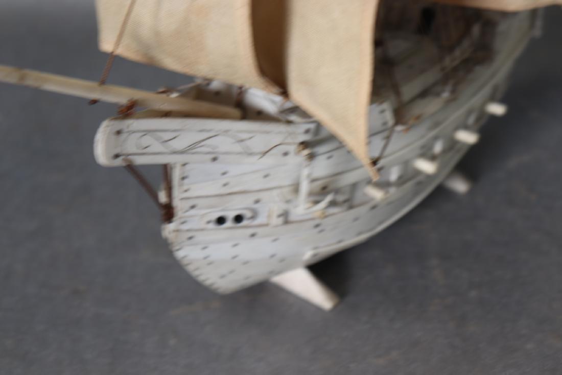 Napoleonic Hand Carved Prisoner Of War Style Ship Model - 10