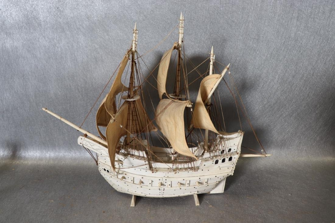 Napoleonic Hand Carved Prisoner Of War Style Ship Model