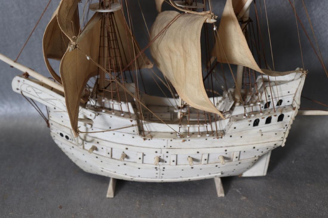 Napoleonic Hand Carved Prisoner Of War Style Ship Model - 2