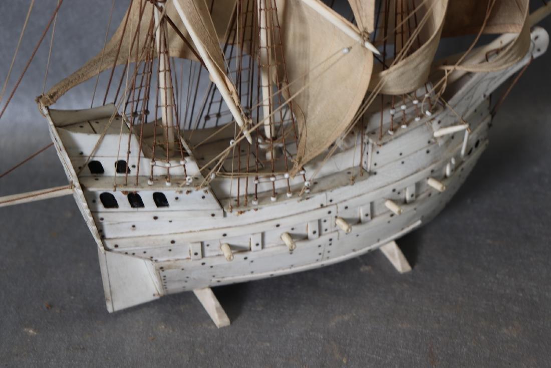 Napoleonic Hand Carved Prisoner Of War Style Ship Model - 6