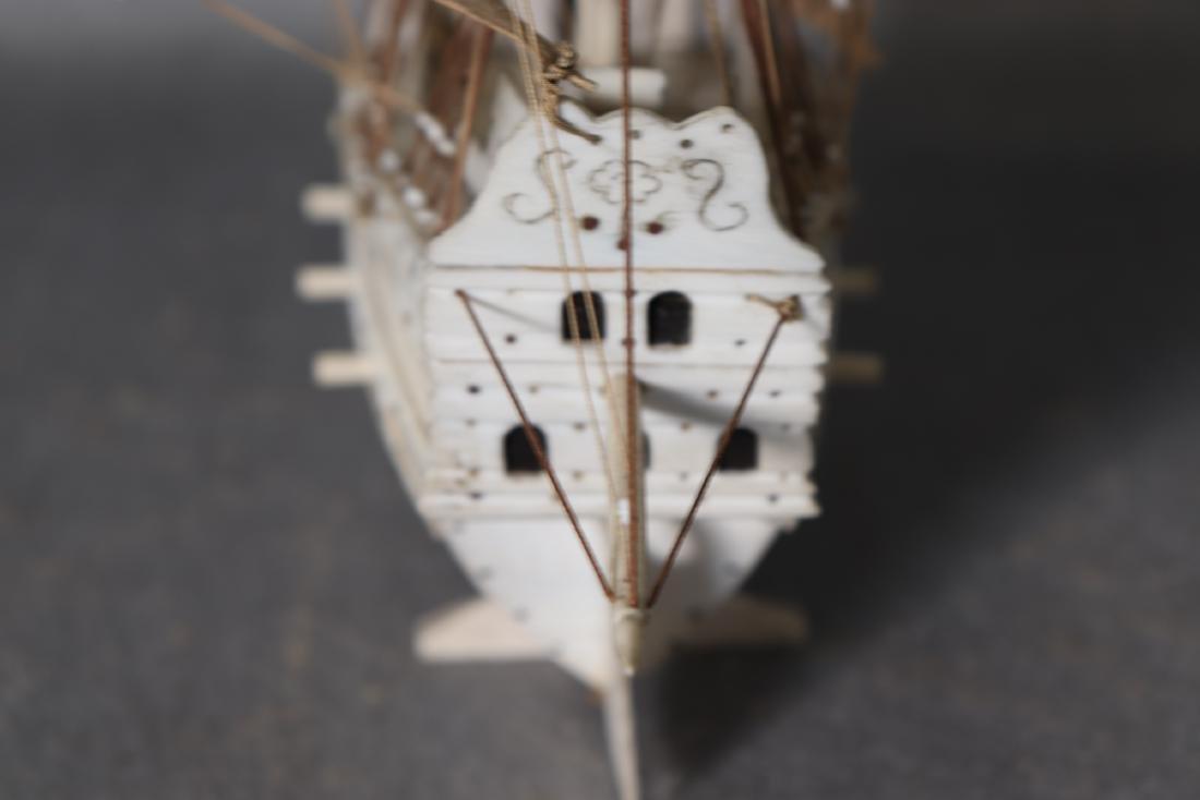 Napoleonic Hand Carved Prisoner Of War Style Ship Model - 8
