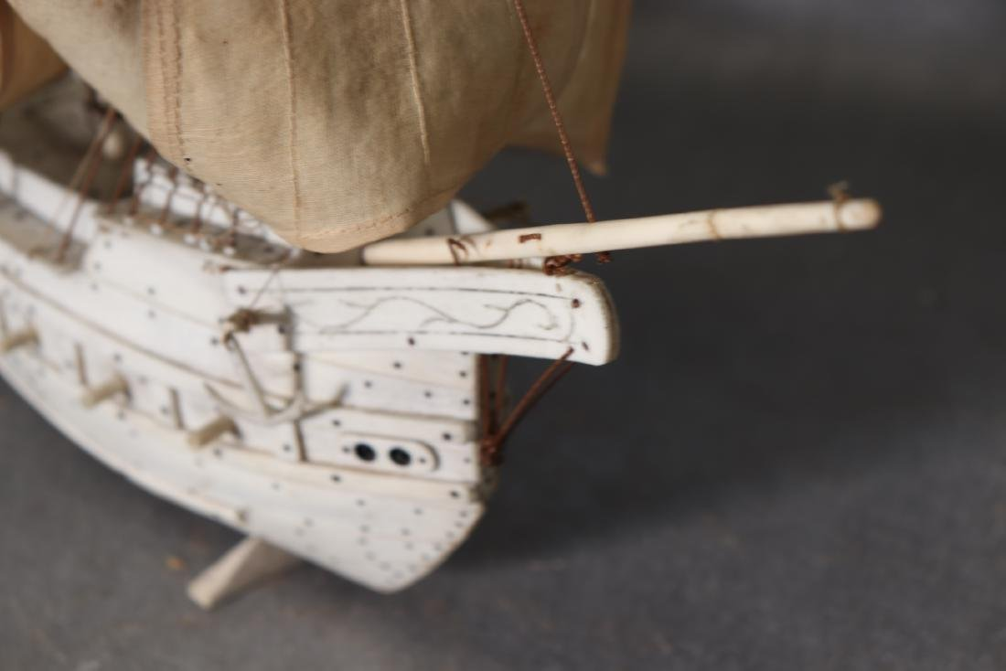Napoleonic Hand Carved Prisoner Of War Style Ship Model - 9