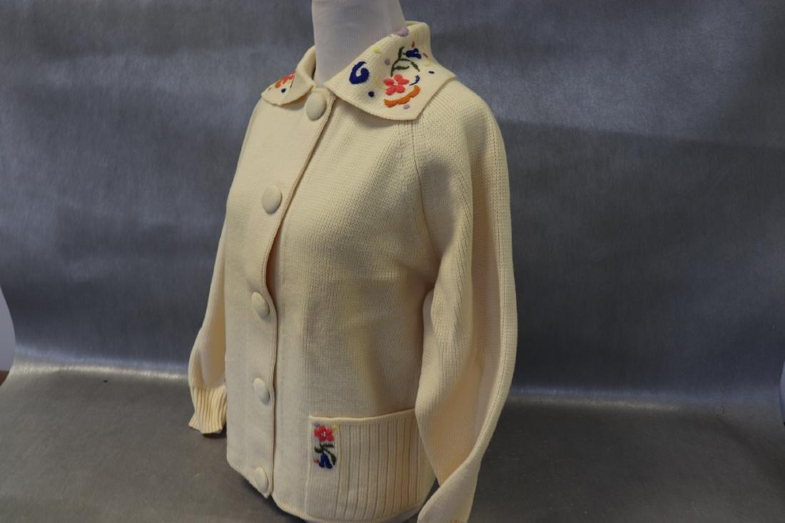 Vintage 1950's Wool Cardigan Ski Sweater - 4