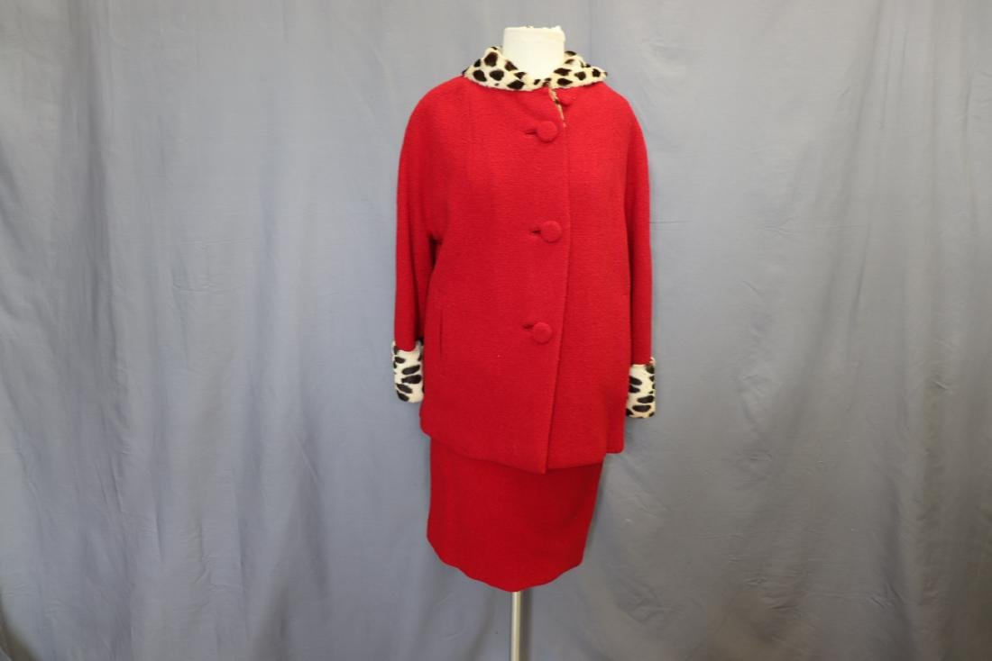 1960's Forstmann Wool Coat Skirt Set, Cheetah Collar