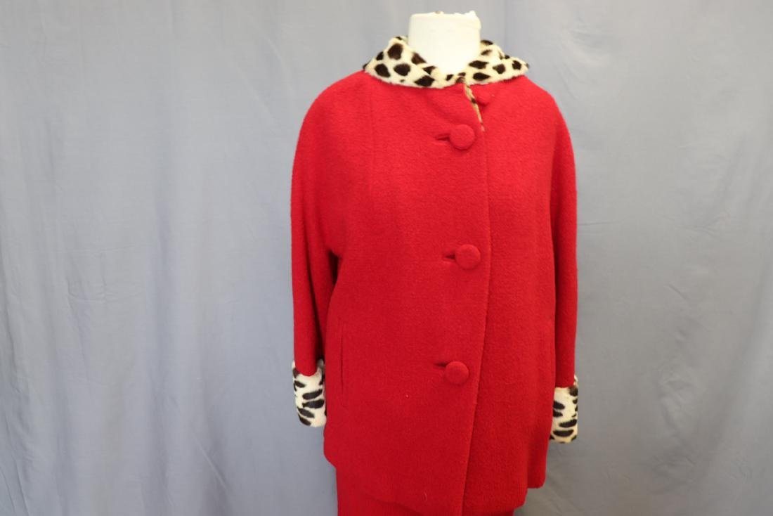 1960's Forstmann Wool Coat Skirt Set, Cheetah Collar - 2
