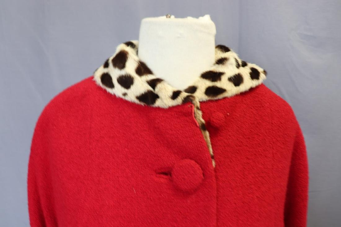 1960's Forstmann Wool Coat Skirt Set, Cheetah Collar - 3