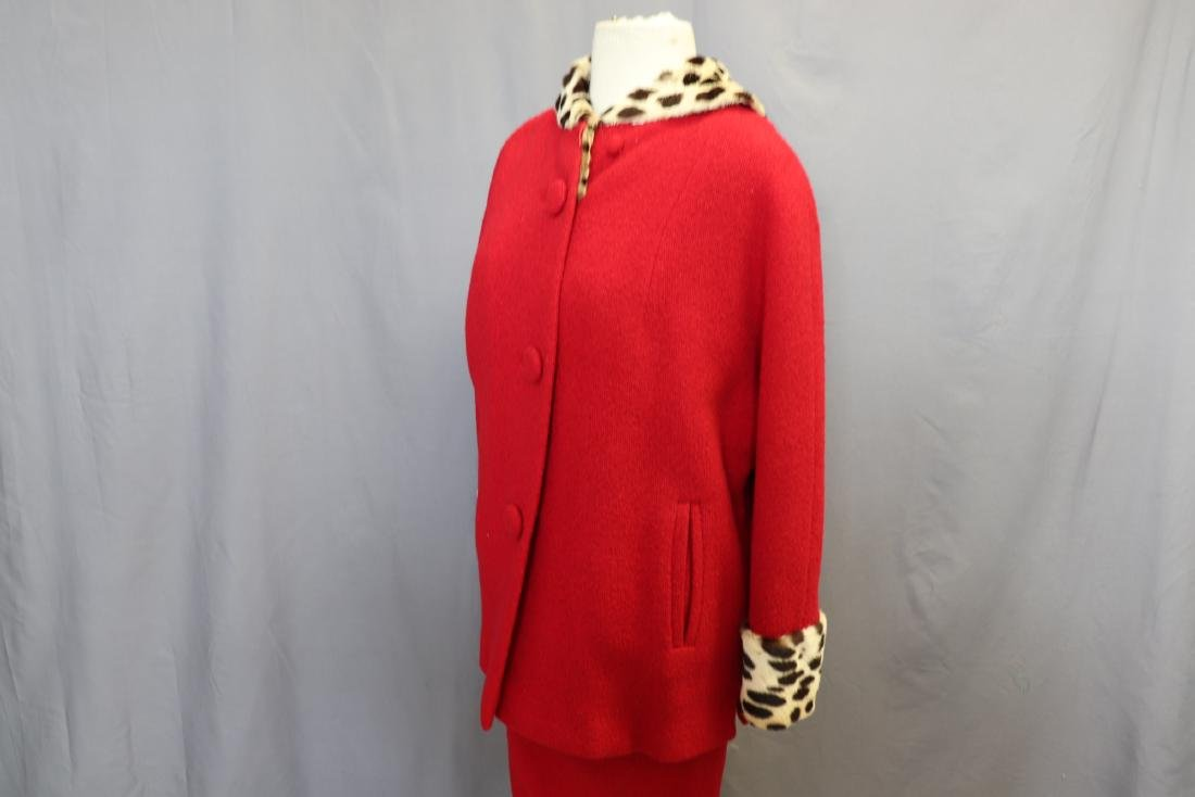 1960's Forstmann Wool Coat Skirt Set, Cheetah Collar - 5