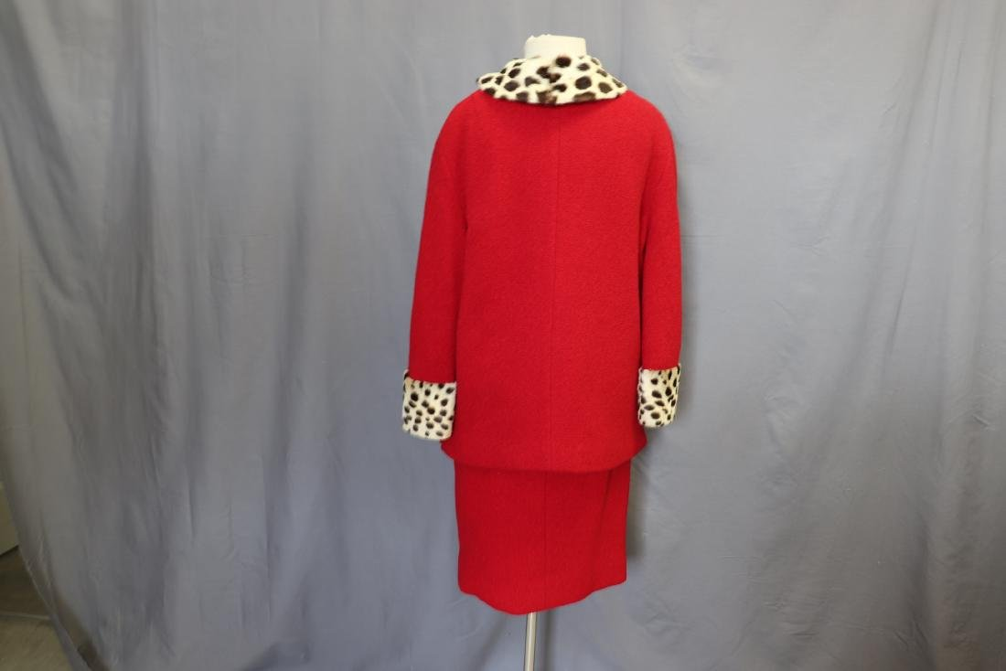 1960's Forstmann Wool Coat Skirt Set, Cheetah Collar - 6