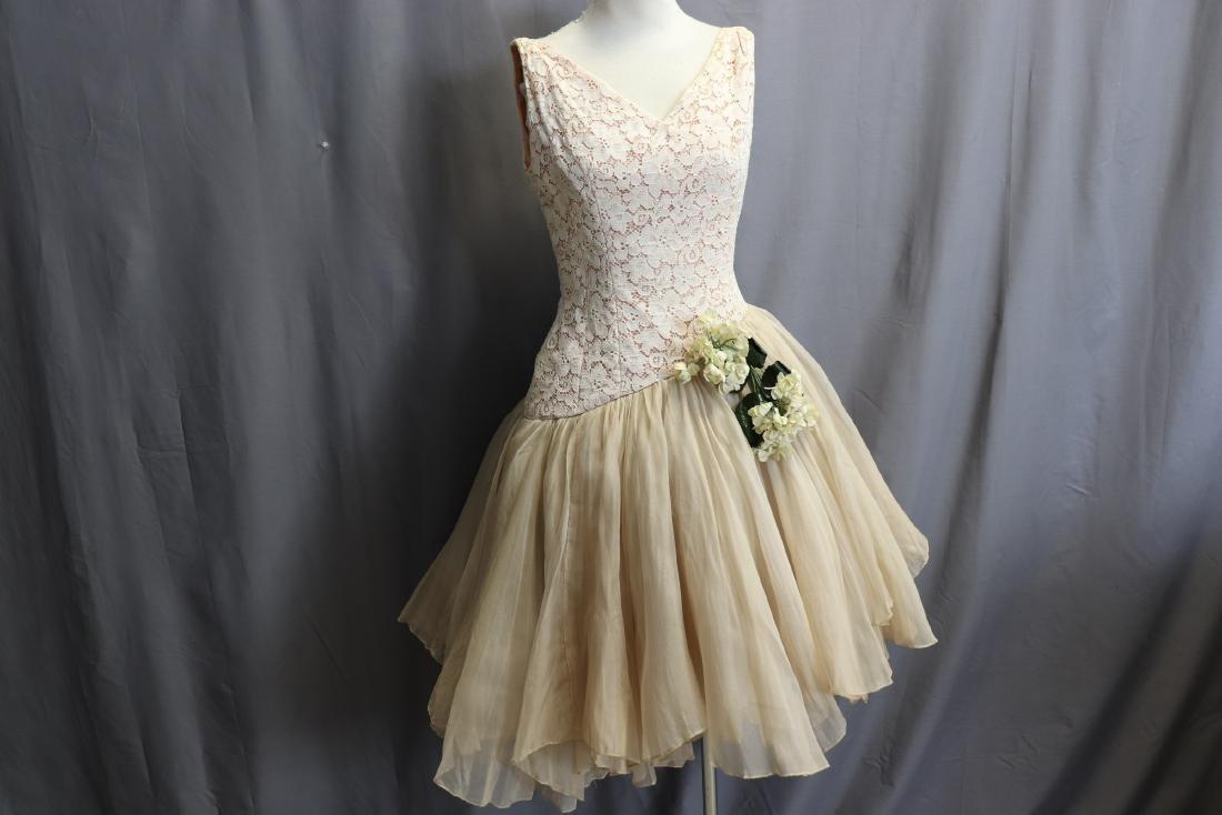 1950's Lace & Silk Chiffon Party Dress