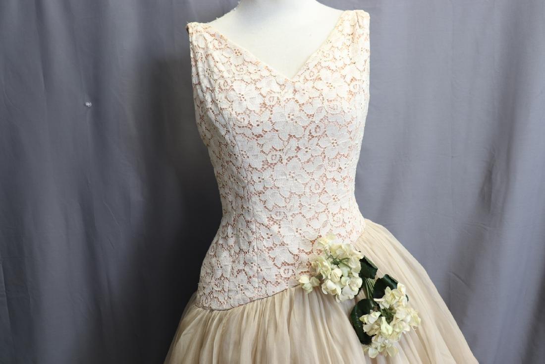 1950's Lace & Silk Chiffon Party Dress - 2