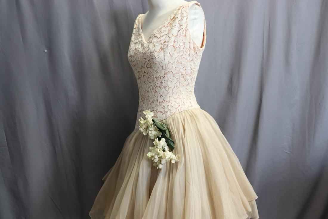 1950's Lace & Silk Chiffon Party Dress - 4