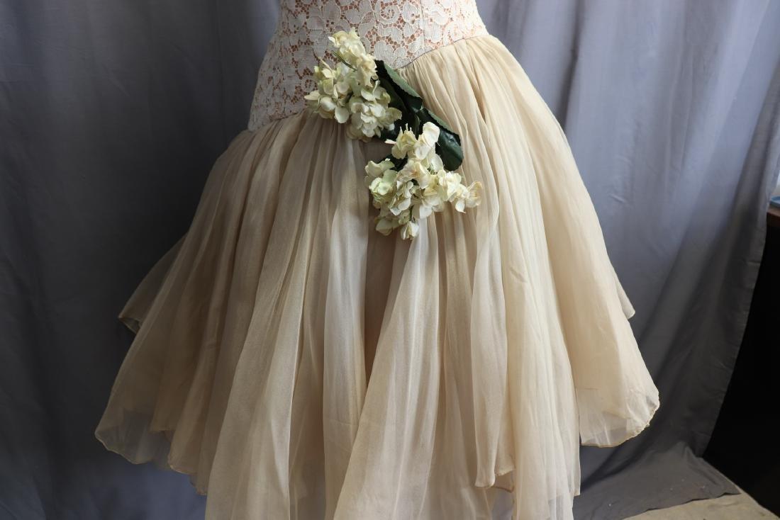 1950's Lace & Silk Chiffon Party Dress - 5