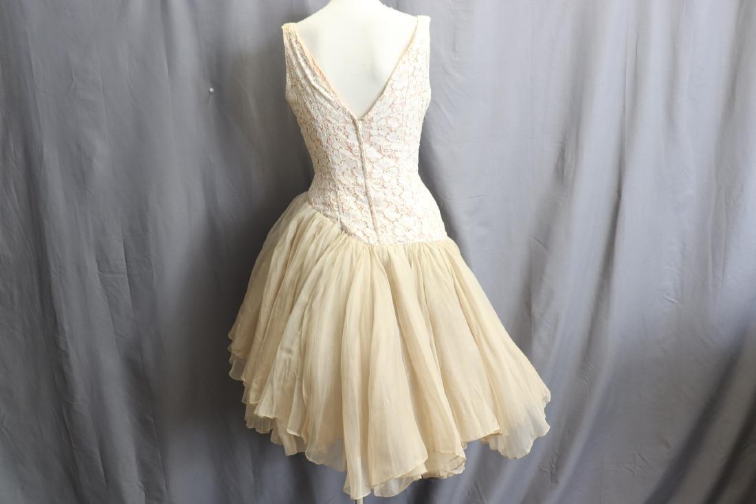 1950's Lace & Silk Chiffon Party Dress - 6