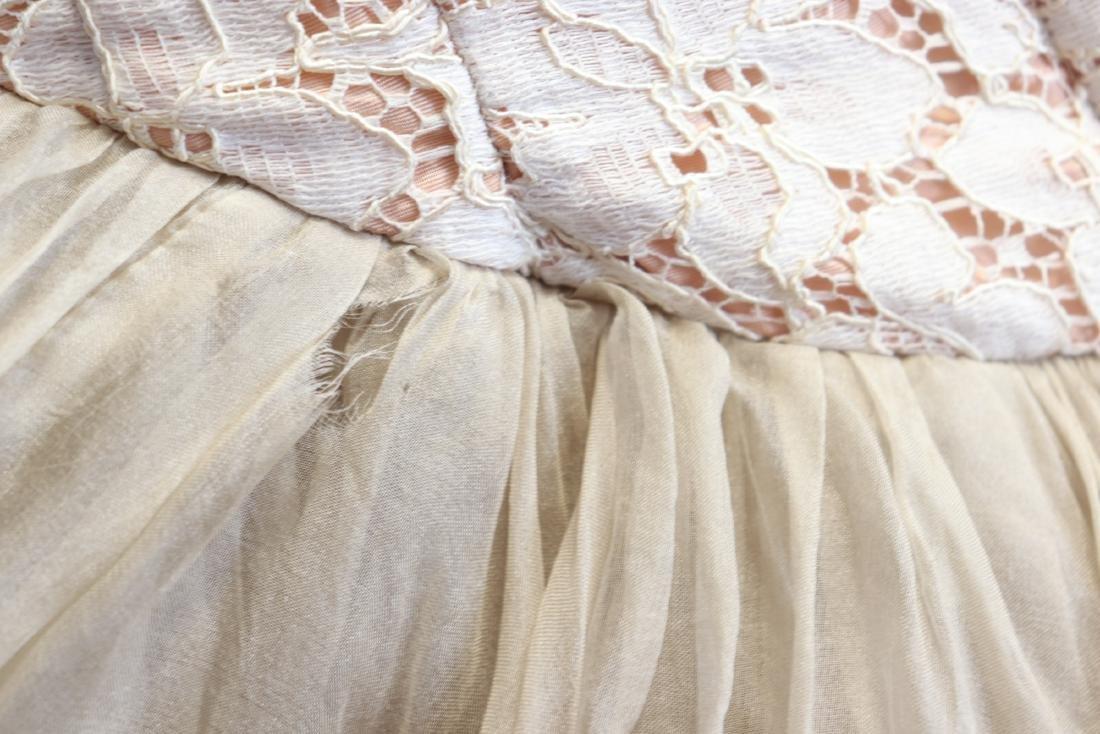 1950's Lace & Silk Chiffon Party Dress - 8