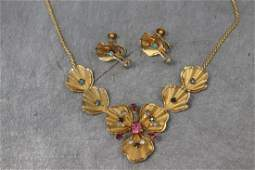Vintage Gold Tone Necklace, Earrings
