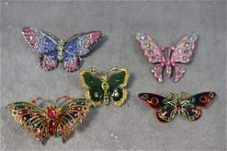 Lot Colorful Butterfly Brooches, Pins