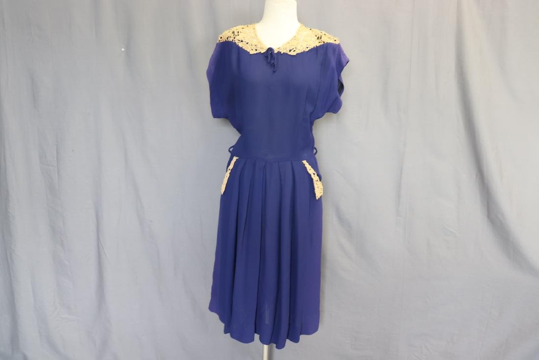 1940's Lace Trimmed Day Dress