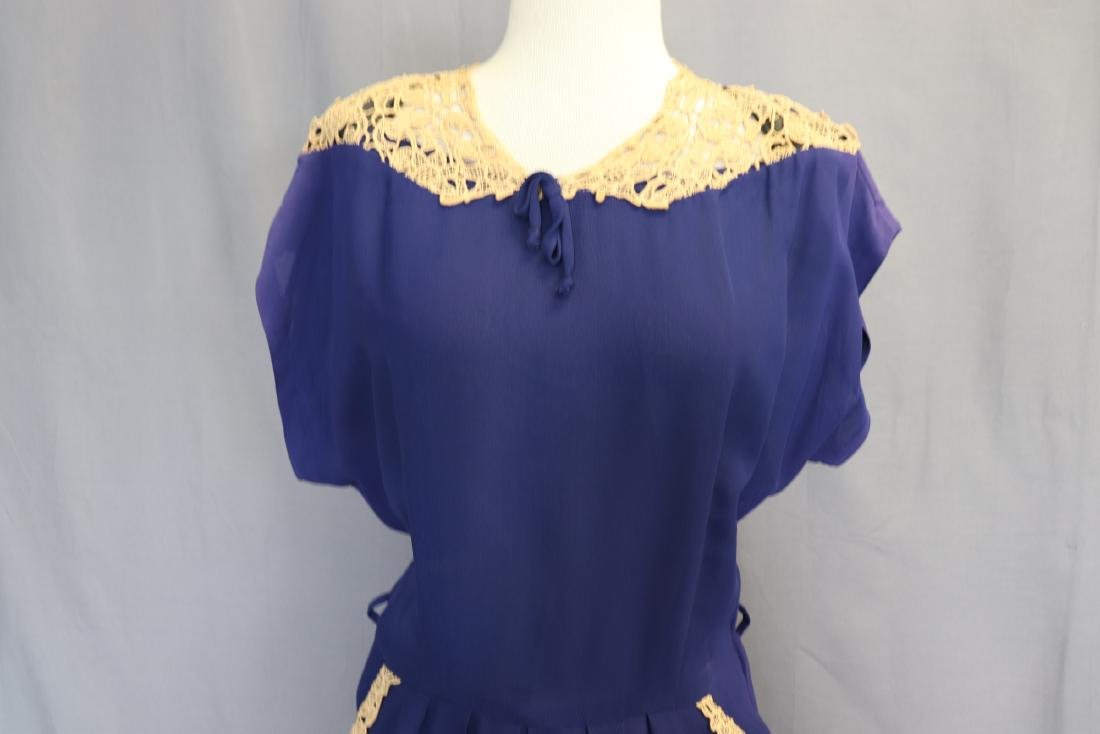 1940's Lace Trimmed Day Dress - 2