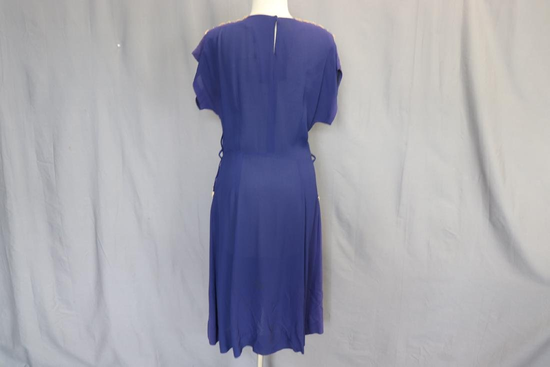 1940's Lace Trimmed Day Dress - 5