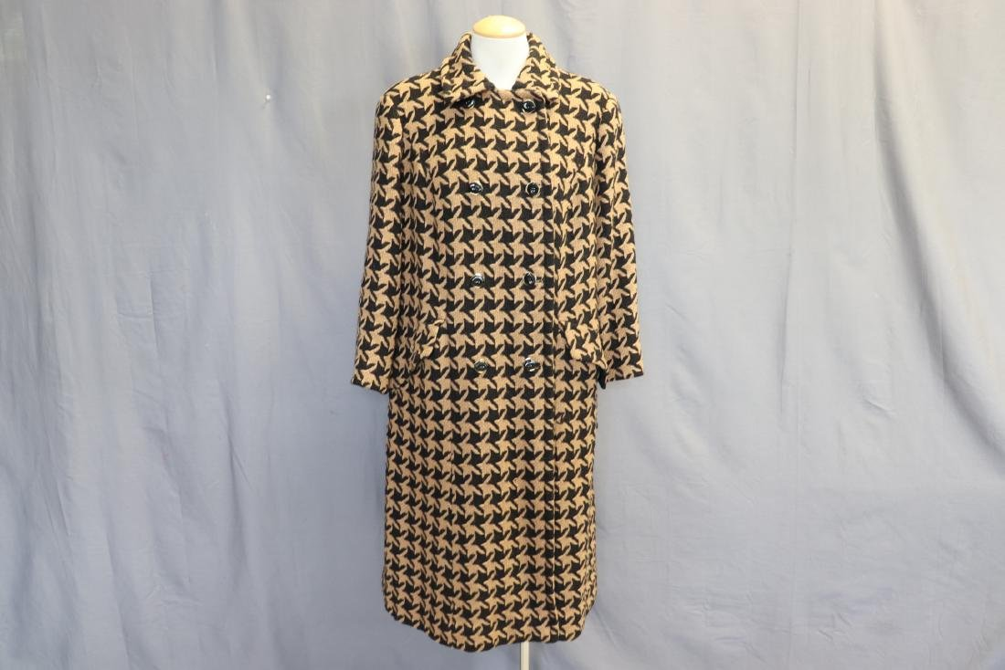 1960's Wool Knit Hounds Tooth Coat & Skirt Set
