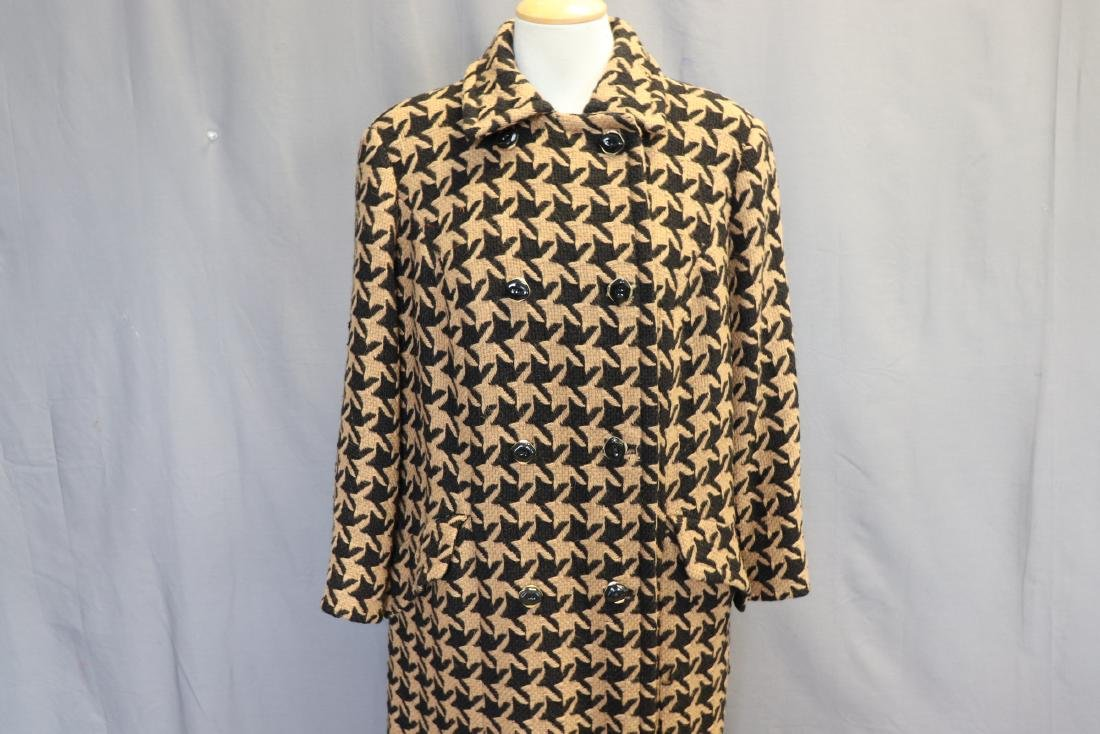 1960's Wool Knit Hounds Tooth Coat & Skirt Set - 2