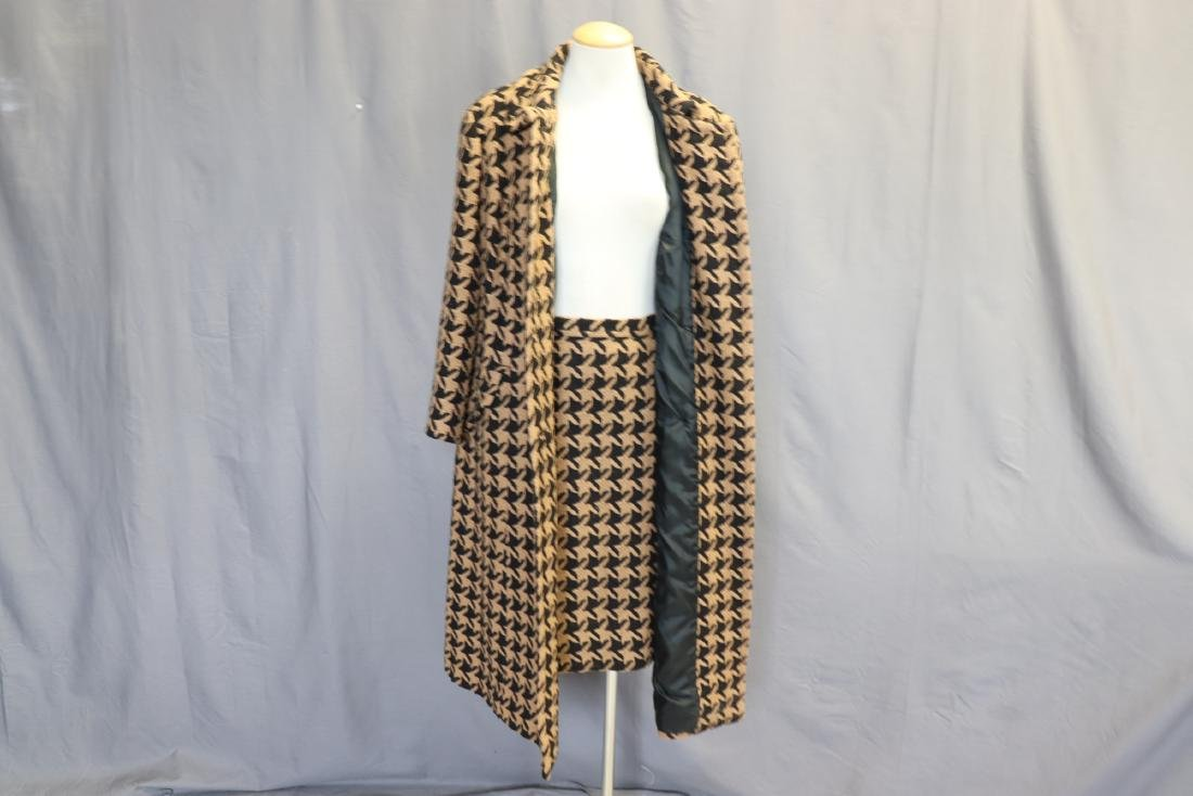 1960's Wool Knit Hounds Tooth Coat & Skirt Set - 6