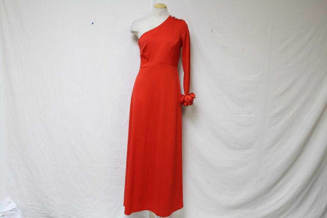 Vintage 1970s Red One-Sleeve Dress