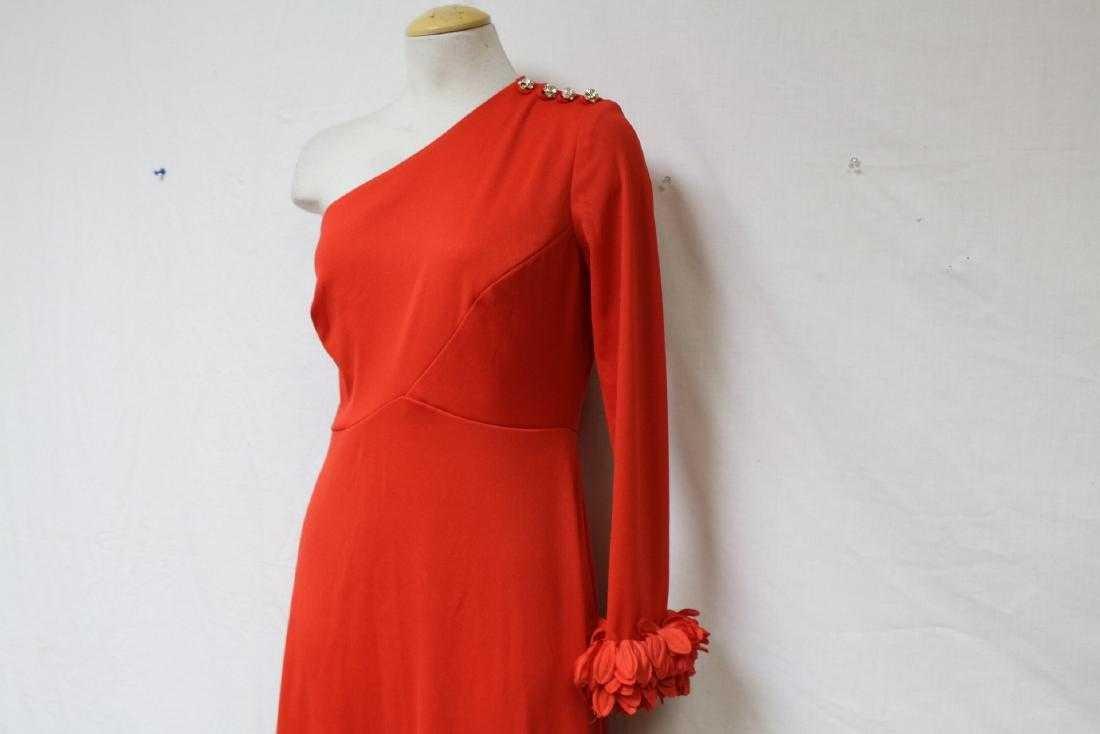Vintage 1970s Red One-Sleeve Dress - 2