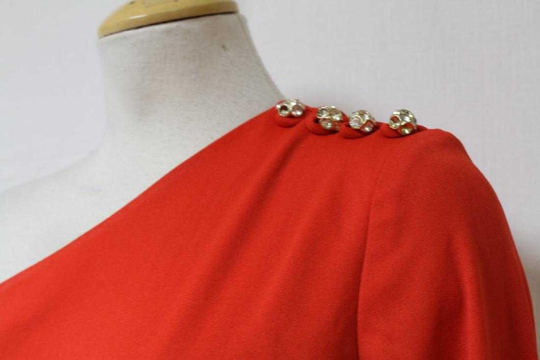 Vintage 1970s Red One-Sleeve Dress - 3