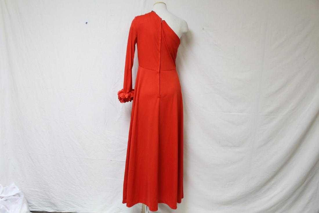 Vintage 1970s Red One-Sleeve Dress - 4