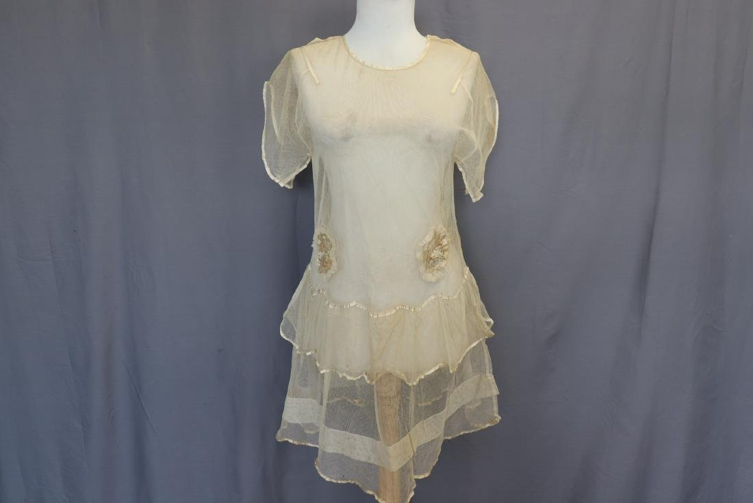 Girls Off White Netted Dress with Silk
