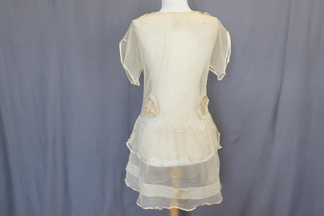 Girls Off White Netted Dress with Silk - 6