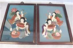 Pair Framed Asian Reverse Painting on Glass