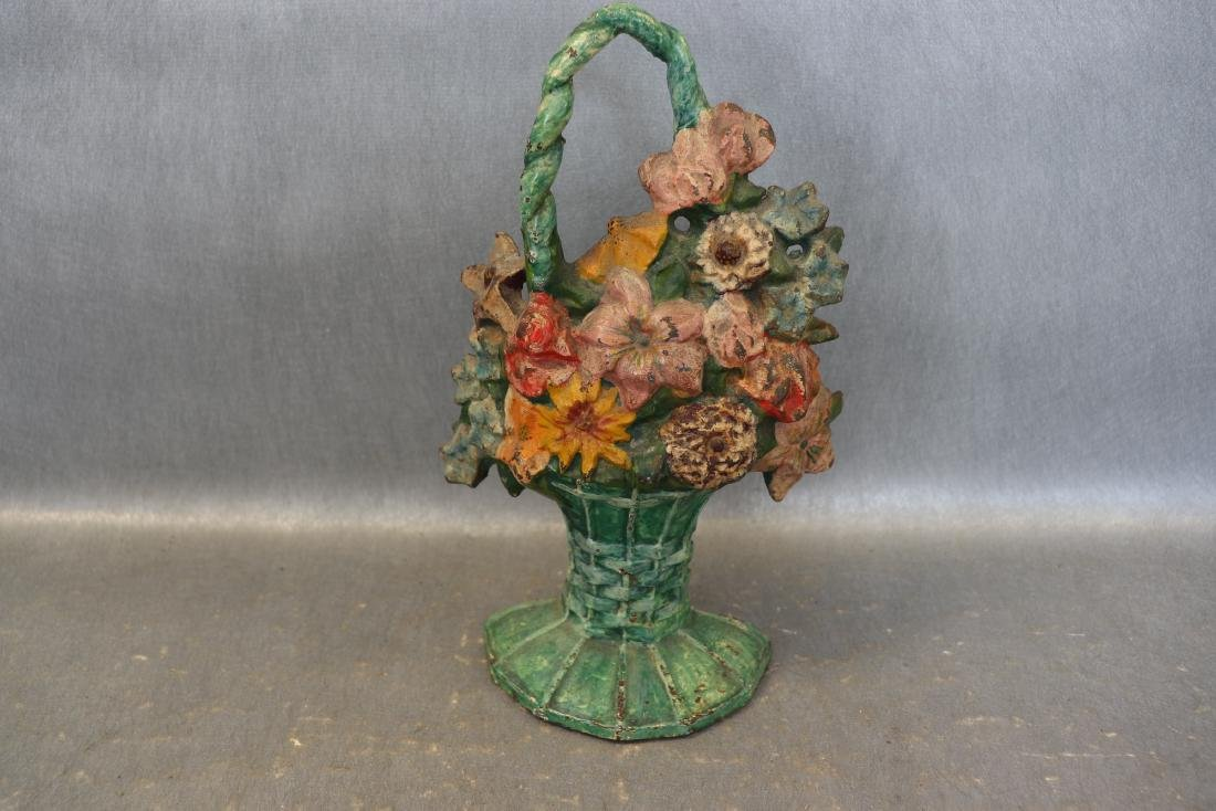 Cast Iron Antique Flower Basket Door Stop