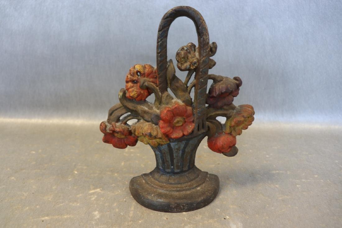 Cast Iron Antique Flower Basket Door Stop