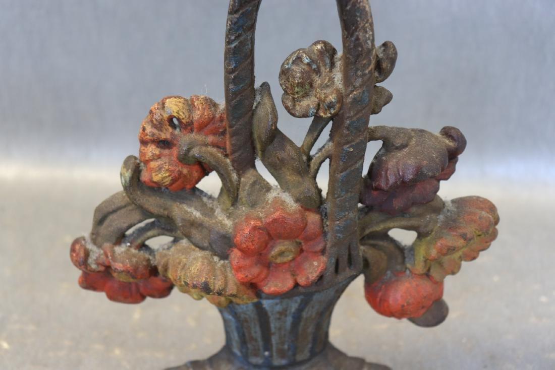 Cast Iron Antique Flower Basket Door Stop - 2