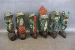 Lot Hand Carved  Hand Painted Wooden Frogs