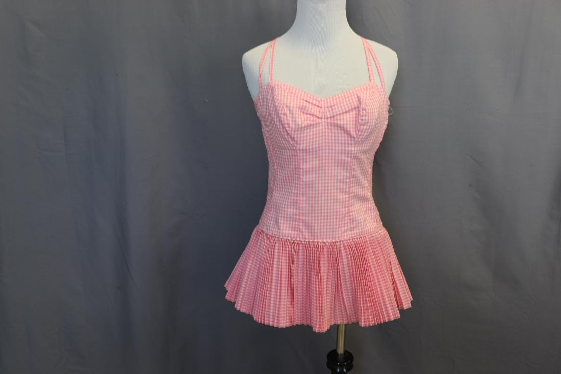 Vintage 1960's Pink Gingham Bathing Suit