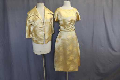 315c9fe6b404 Vintage Gold Brocade Dress and Jacket