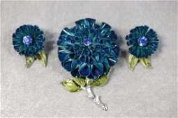 Vintage Coro Blue Enamel Brooch & Earring Set