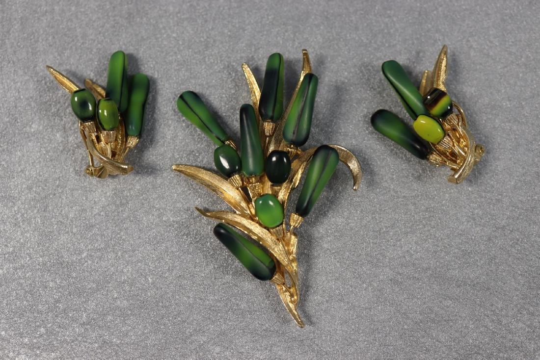 Vintage 1960's Floral Brooch & Earring Set Signed ART©