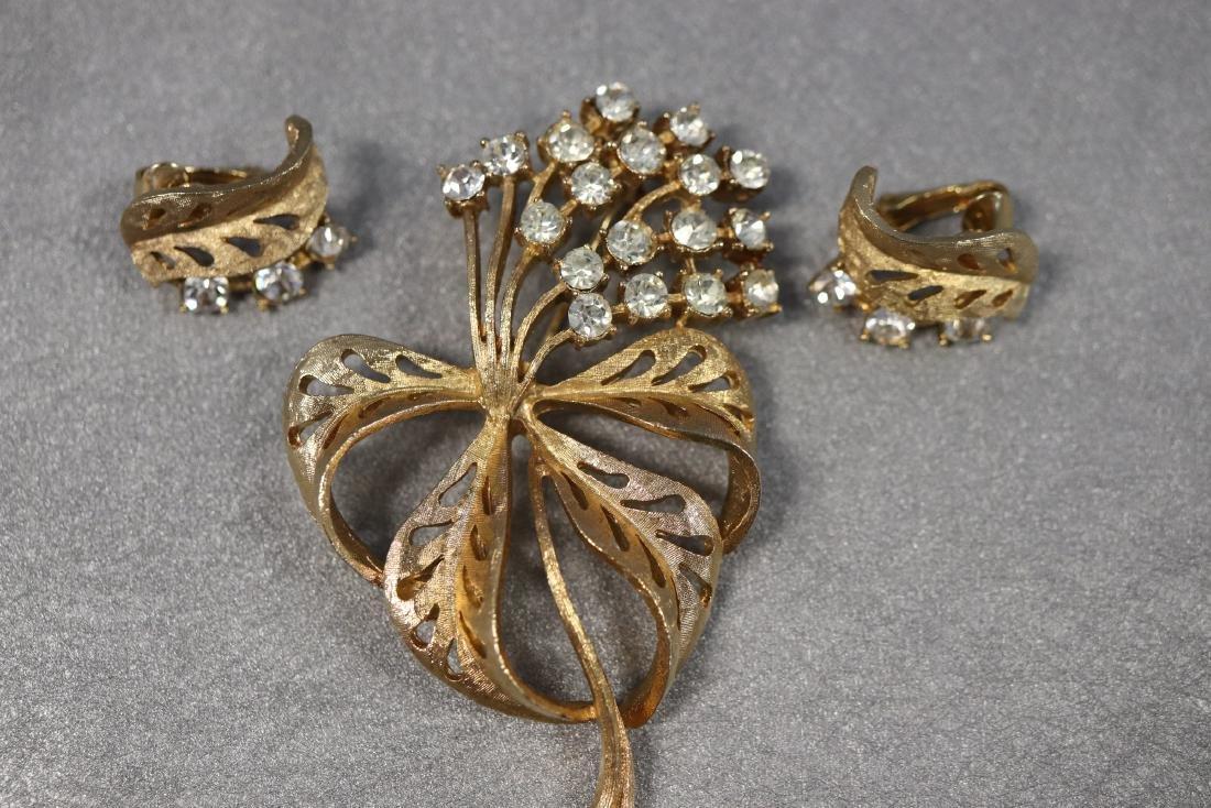 Vintage Coro Floral Rhinestone Brooch & Earring Set