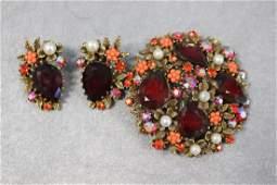 Vintage Brooch & Earring Set Marked Art
