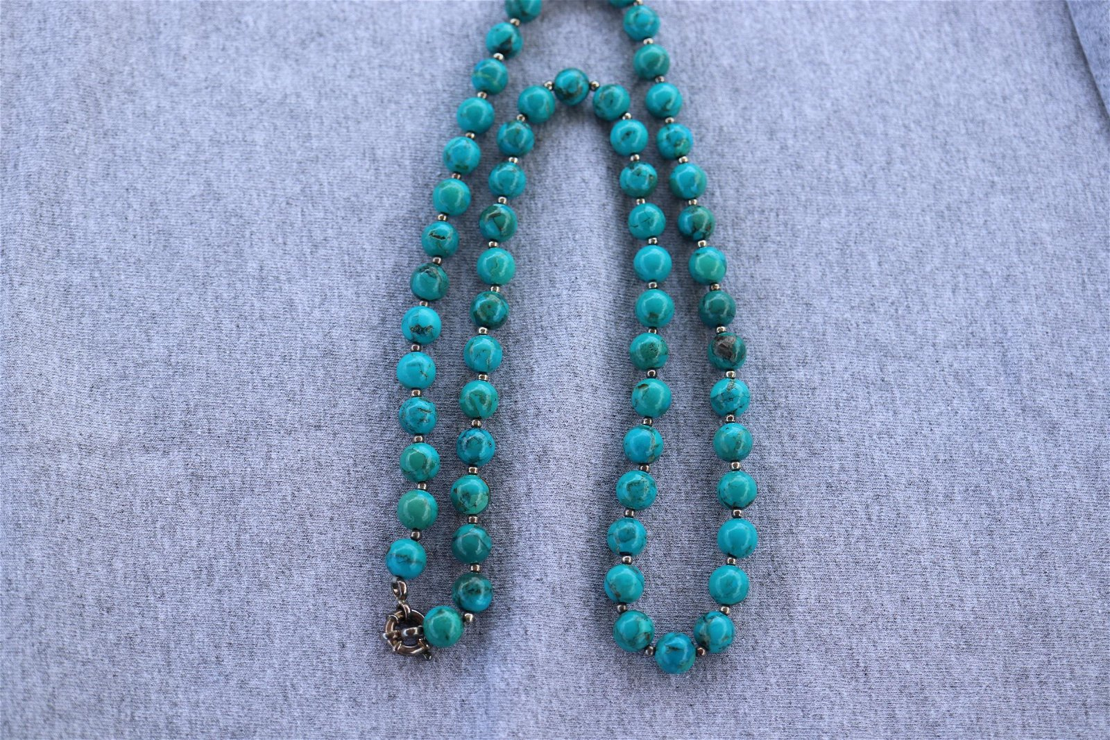 Vintage Turquoise & Sterling Beaded Necklace