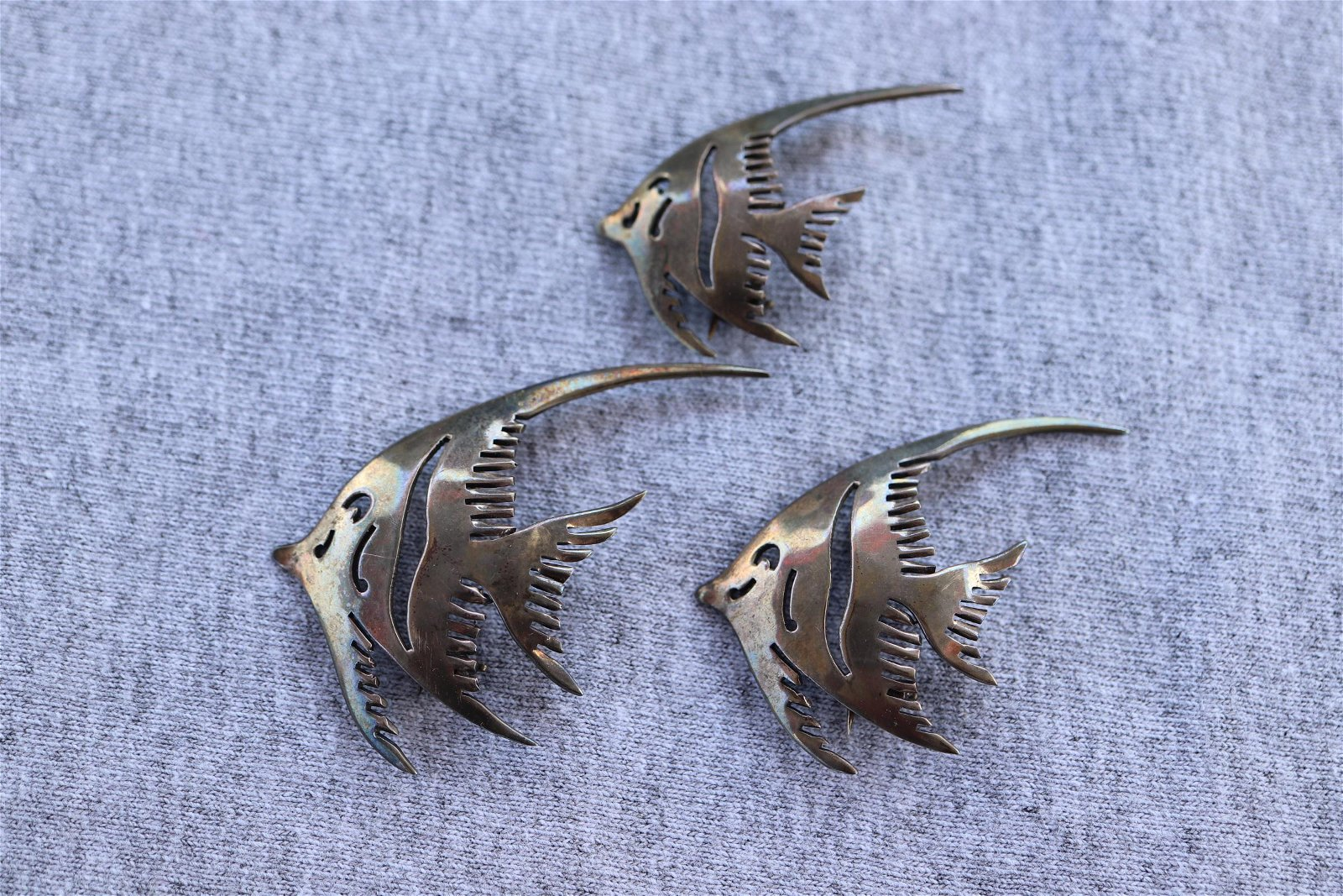 Set of 3 Vintage Hand Made Sterling Fish Brooches