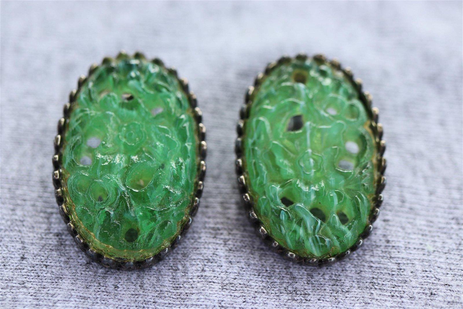 Vintage Carved Jade Earrings