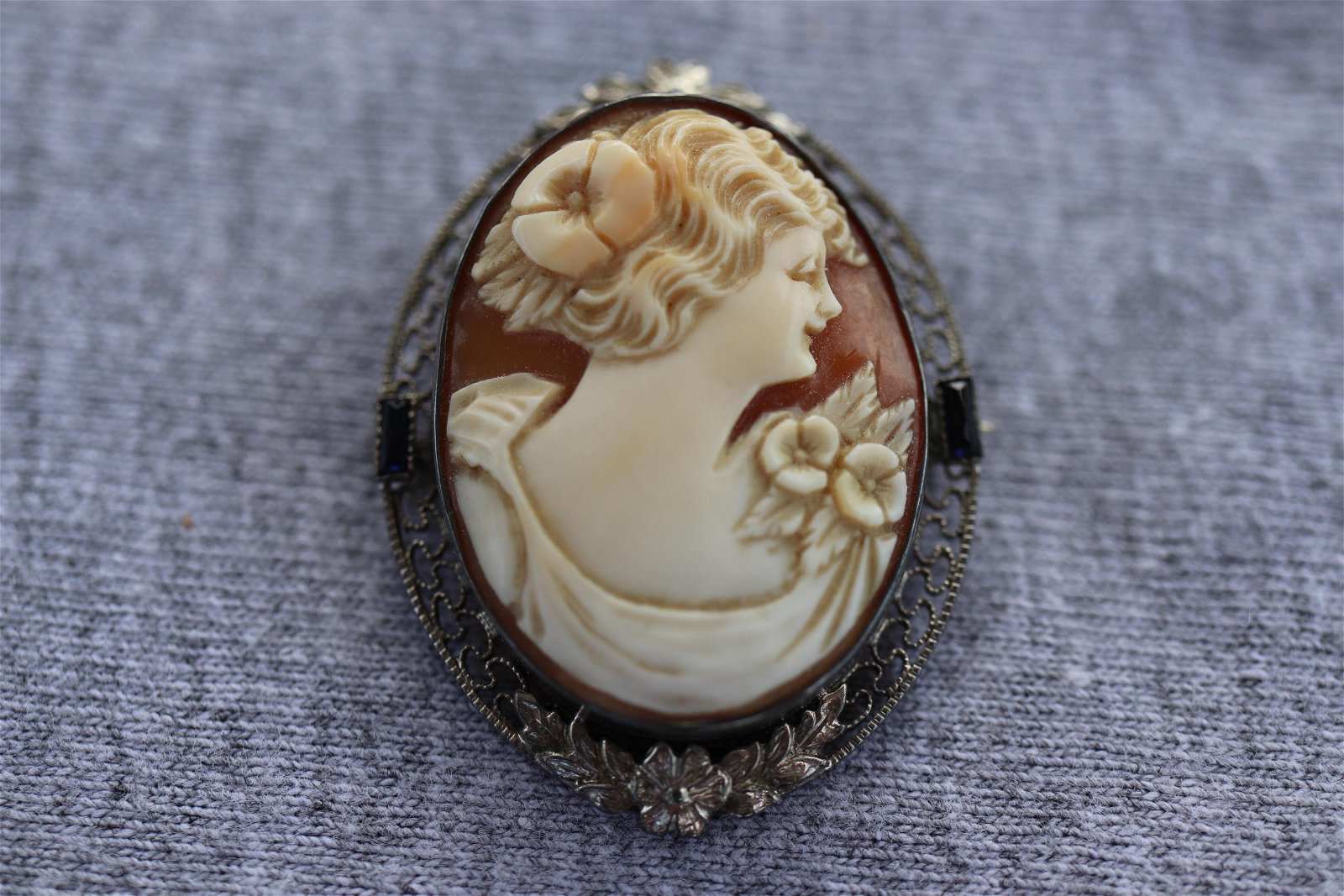 Antique Sterling Cameo Brooch with Sapphire Stones