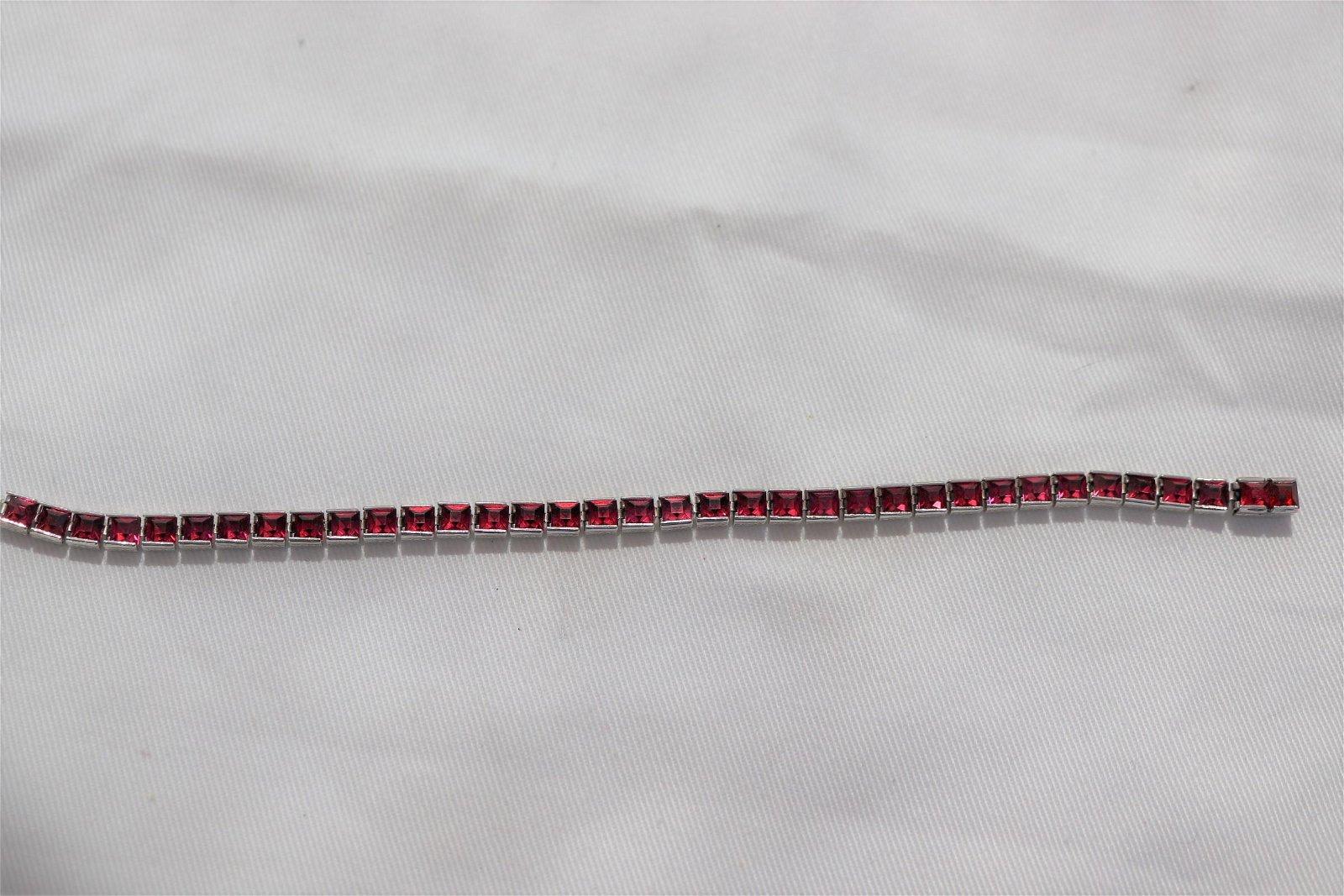 Vintage Sterling & Pink Stone Tennis Bracelet